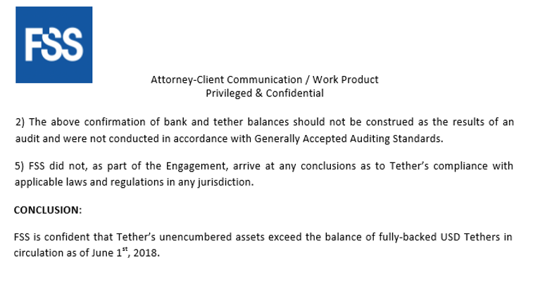FSS legal review bank account tether