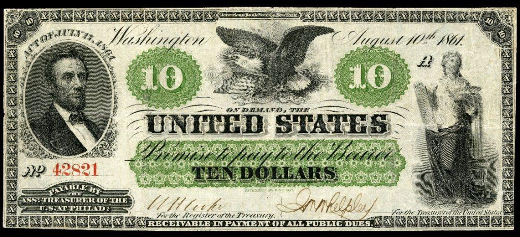 greenbacks lincoln 1861